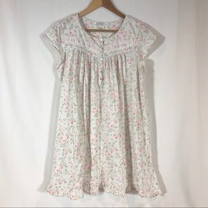 Eileen West Floral Nightgown Pastel Short Sleeve L